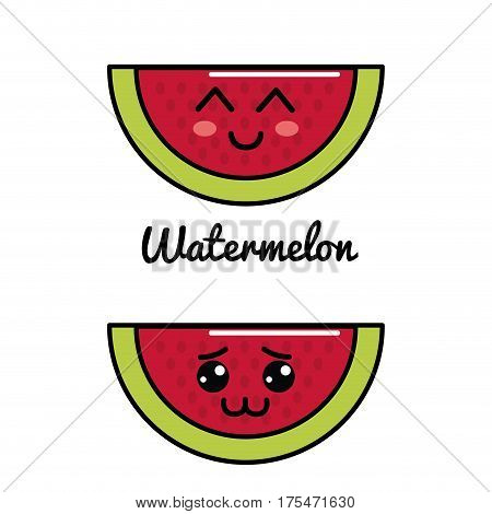 emblem kawaii happy and shy watermelon icon, vector illustraction design