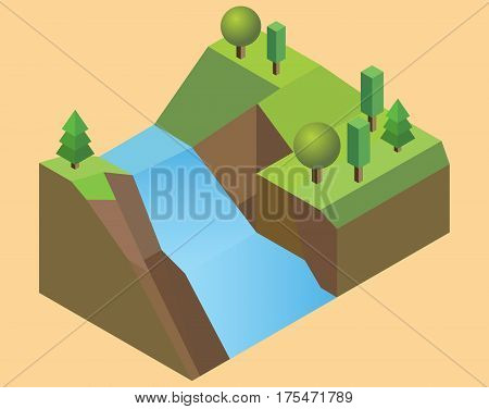 Isometric waterfall Land with a waterfall feature grass trees river and ground. Vector Illustration