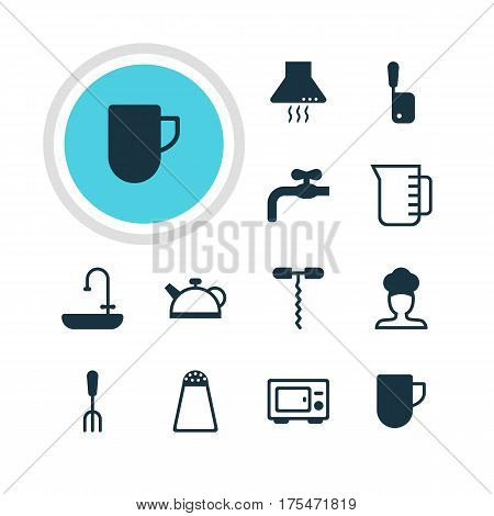 Vector Illustration Of 12 Restaurant Icons. Editable Pack Of Oven , Pepper Container, Washstand Elements.