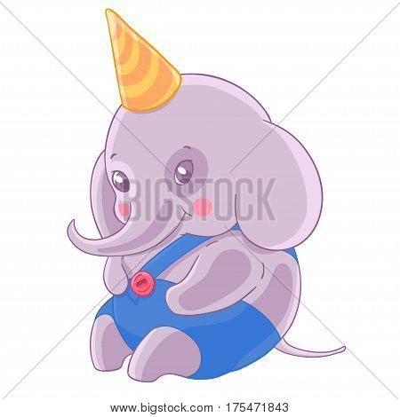 Shy boy elephant in birthday cap and blue panties. Vector illustration.T-shirt print. Greeting card.