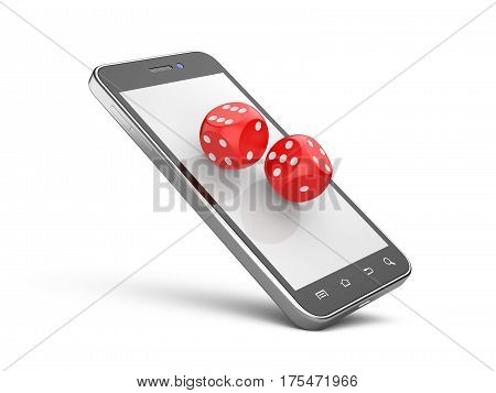 Smartphone with game dices. Online play concept. 3d illustration isolated on a white background.