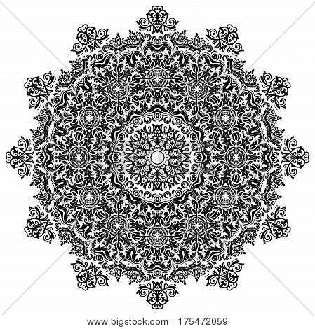 Oriental vector round black pattern with arabesques and floral elements. Traditional classic ornament. Vintage pattern with arabesques