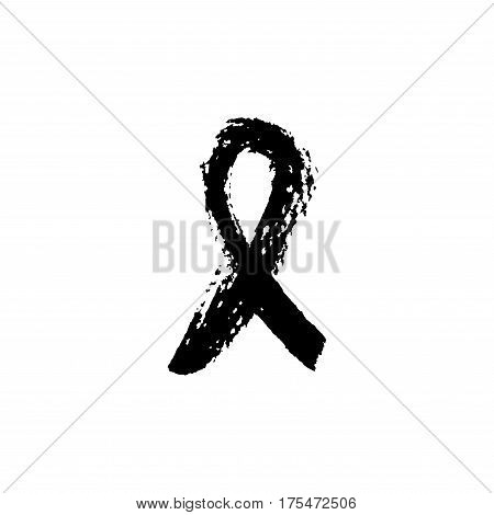 Paint stroke isolated on a white background. Aids awareness ribbon. Vector sign.