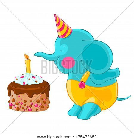 Cute baby elephant in hat and pants blow out the candle on the birthday cake. Vector illustration.T-shirt print. Greeting card.