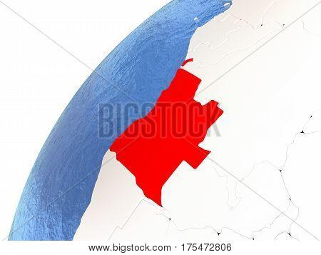 Angola On Metallic Globe With Blue Oceans