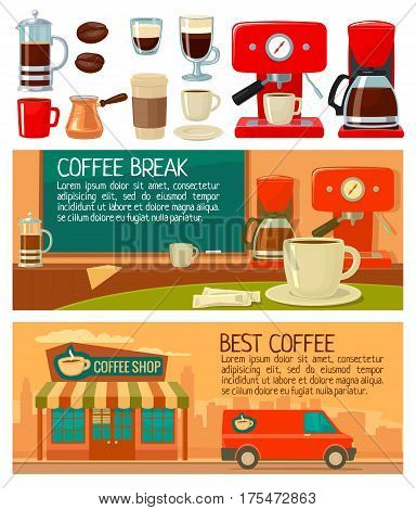 Set icon and banners for service coffee shop and cafe. Flat color vector illustration. Take away machine cezve or turkish pot french press beans saucer cup.