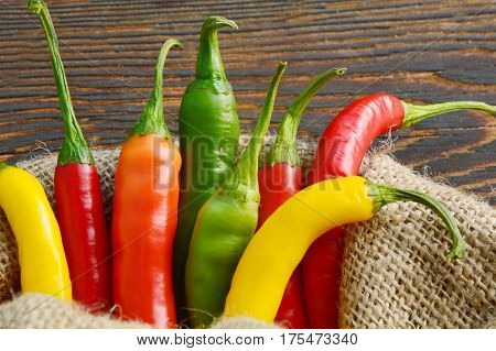 Mixed Colorful of Cayenne on sack background.
