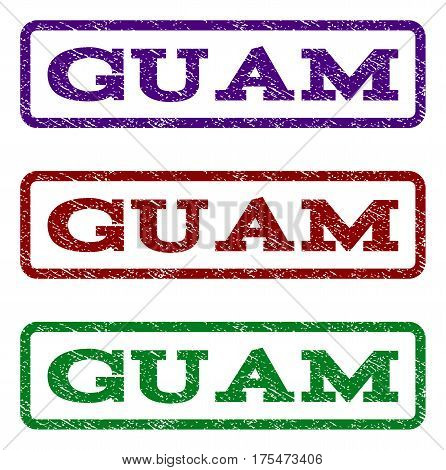 Guam watermark stamp. Text caption inside rounded rectangle with grunge design style. Vector variants are indigo blue, red, green ink colors. Rubber seal stamp with dust texture.