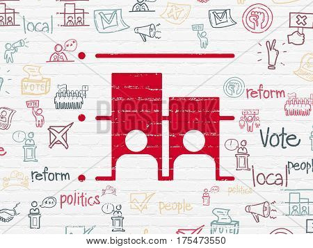 Political concept: Painted red Election icon on White Brick wall background with  Hand Drawn Politics Icons