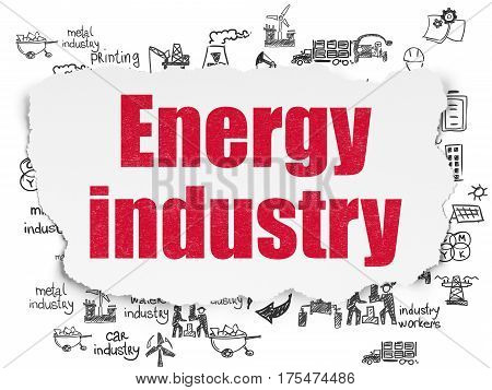 Industry concept: Painted red text Energy Industry on Torn Paper background with  Hand Drawn Industry Icons
