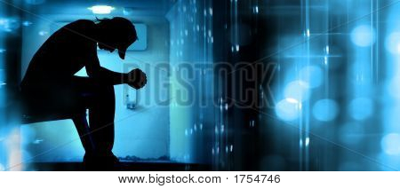 Silhoutte of desperate teenager praying on abstract background poster