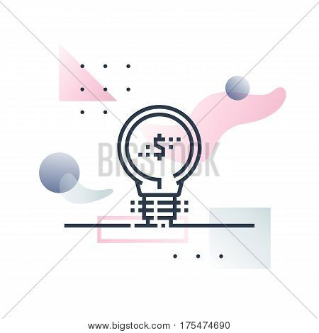 Abstract illustration concept of financial innovation fintech industry development idea. Premium quality unique graphic design with modern line icon symbol and colored geometric shapes on background.