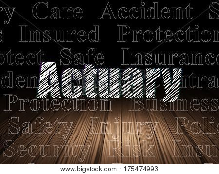 Insurance concept: Glowing text Actuary in grunge dark room with Wooden Floor, black background with  Tag Cloud
