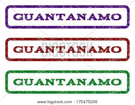 Guantanamo watermark stamp. Text tag inside rounded rectangle with grunge design style. Vector variants are indigo blue, red, green ink colors. Rubber seal stamp with unclean texture.