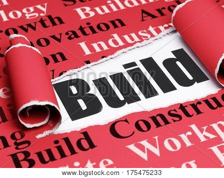 Construction concept: black text Build under the curled piece of Red torn paper with  Tag Cloud, 3D rendering