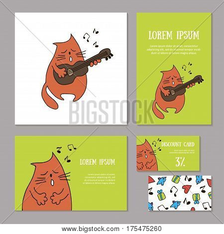 Set of animalistic elements of corporate identity for zoo store, veterinary clinic, shelter, music store. Funny singing cat with guitar and notes on green background. Booklet and discount card, vector