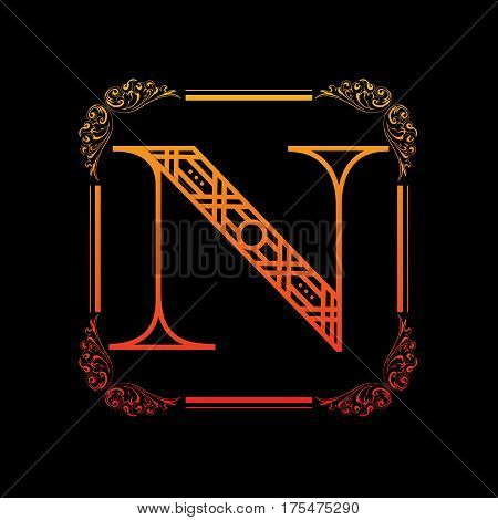 Decorative letter N with abstract frame isolated on black background
