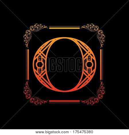 Decorative letter O with abstract frame isolated on black background