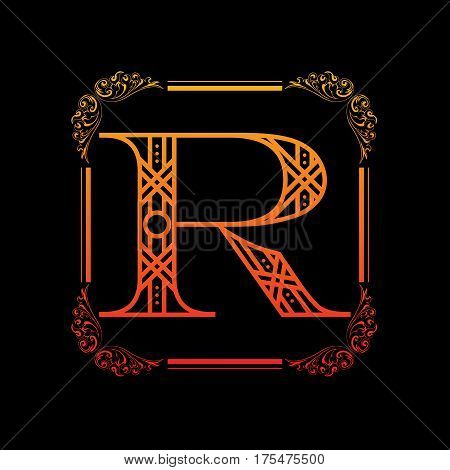 Decorative letter R with abstract frame isolated on black background