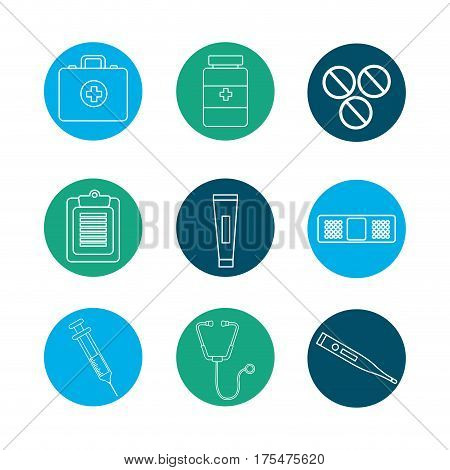 hospital tools and first aid icon, vector illustraction design