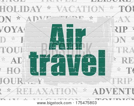 Tourism concept: Painted green text Air Travel on White Brick wall background with  Tag Cloud
