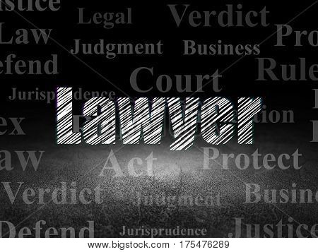 Law concept: Glowing text Lawyer in grunge dark room with Dirty Floor, black background with  Tag Cloud