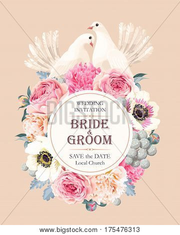 Vector wedding invitation with vintage flowers and doves