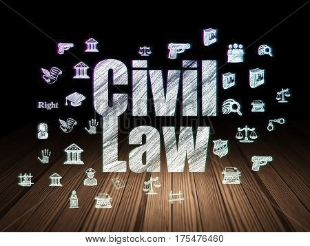 Law concept: Glowing text Civil Law,  Hand Drawn Law Icons in grunge dark room with Wooden Floor, black background