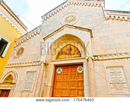 Sorrento, Italy - September 11, 2015: The details of the Duomo, cathedral of Naples, built 14th century for saint Januarius, Camapnia, Italy, Sorrento