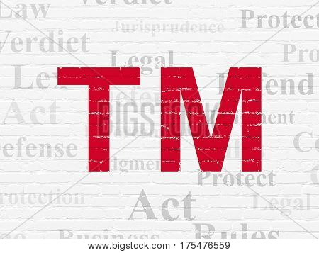 Law concept: Painted red Trademark icon on White Brick wall background with  Tag Cloud
