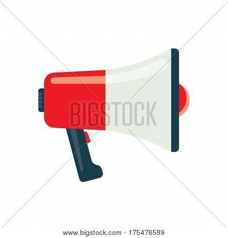 Megaphone flat icon, isolated on white background. Bullhorn icon