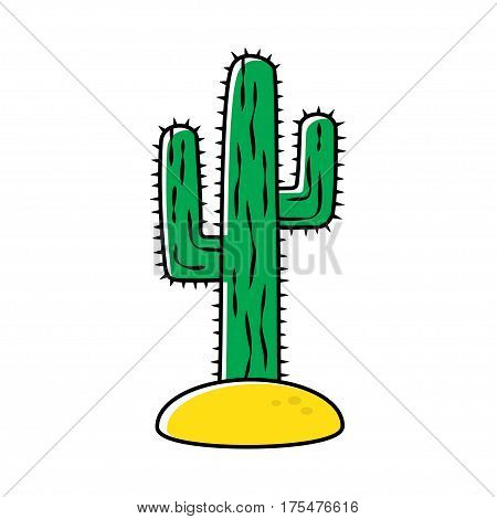 Cactus, desert plant, prickly plant. Vector illustration isolated on white background