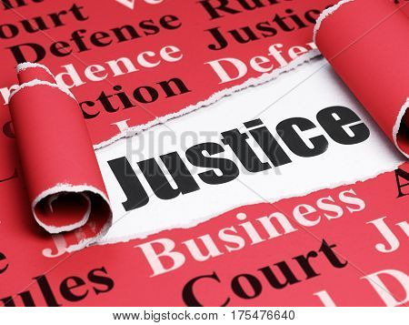 Law concept: black text Justice under the curled piece of Red torn paper with  Tag Cloud, 3D rendering