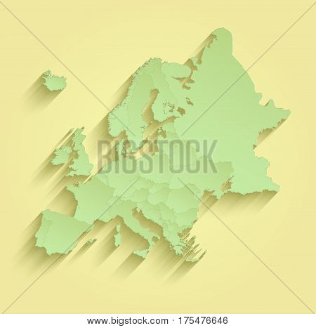 Europe map separate individual states yellow green raster