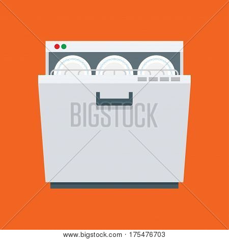 dishwasher. vector illustration in flat style on a white background