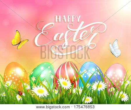 Easter theme with a butterfly flying above the colorful eggs on grass and flowers, pink nature background with sun beams and lettering Happy Easter, illustration.