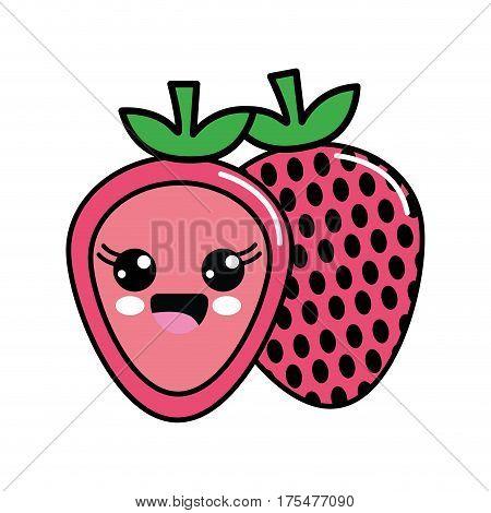 color kawaii scared strawberry icon, vector illustraction design