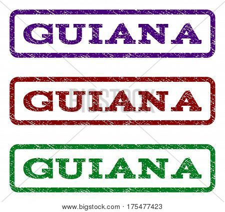 Guiana watermark stamp. Text tag inside rounded rectangle with grunge design style. Vector variants are indigo blue, red, green ink colors. Rubber seal stamp with dirty texture.