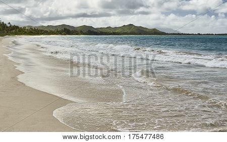 Sandy beach and ocean shores of Kailua Hawaii