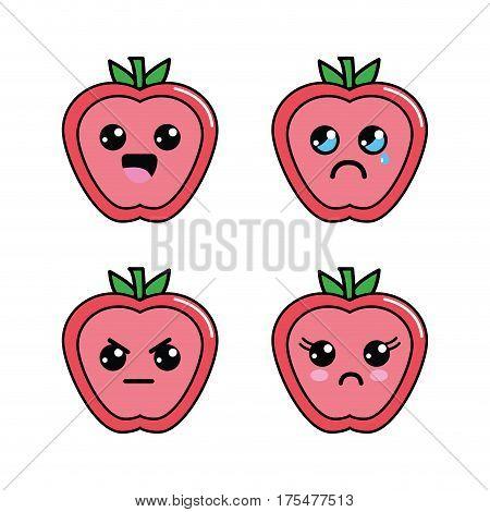 kawaii apple diferents faces icon, vector illustraction design