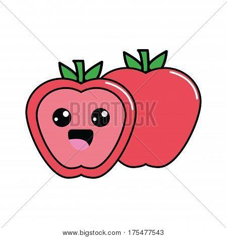 color kawaii scared apple icon, vector illustraction design