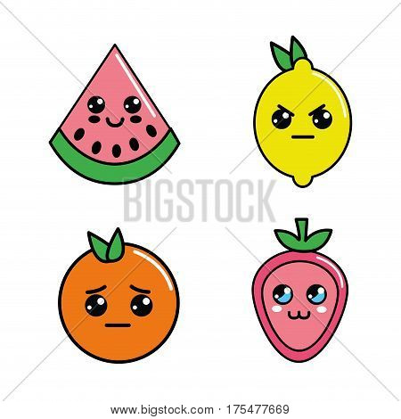 kawaii diferents fruits faces icon, vector illustractions design
