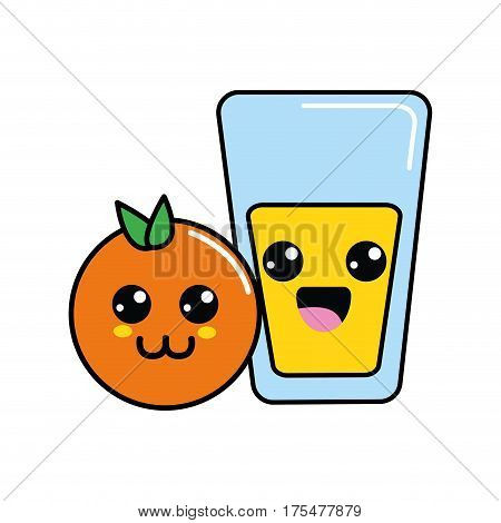 kawaii happy orange and juice glass, vector illustraction design