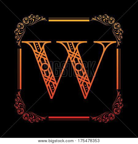 Decorative letter W with abstract frame isolated on black background