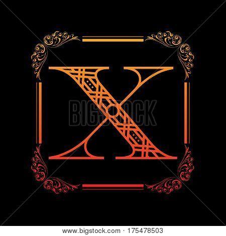 Decorative letter X with abstract frame isolated on black background