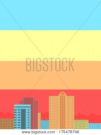 City panorama color buiding and sky, vector illustration, eps 10