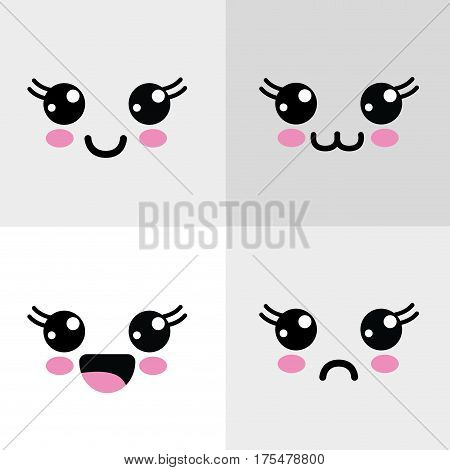 kawaii eyes happys and angry icon, vector illustraction design