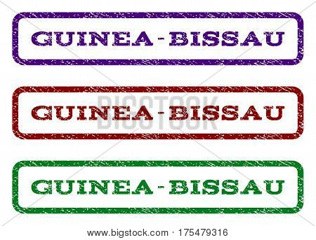 Guinea-Bissau watermark stamp. Text caption inside rounded rectangle with grunge design style. Vector variants are indigo blue, red, green ink colors. Rubber seal stamp with dirty texture.