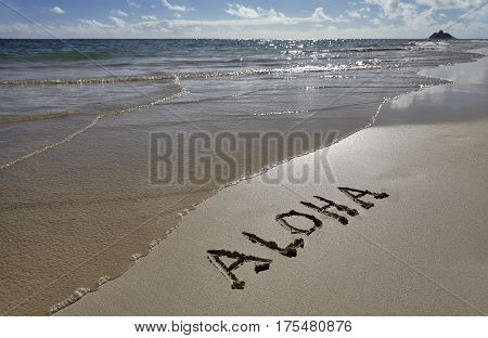 Hawaii Beach Aloha greeting written in Sand