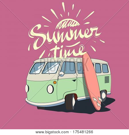 old bus with surfboard and text summer time .Vector illustration